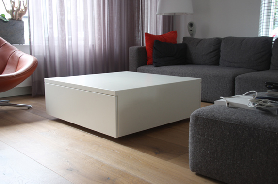 Salontafel Wit Blok.Salontafel Hoogglans Wit Met Lade Great Beautiful Salontafel Met